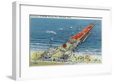 Galveston, Texas - Aerial View of Pleasure Pier and the Beach Front, c.1945-Lantern Press-Framed Art Print