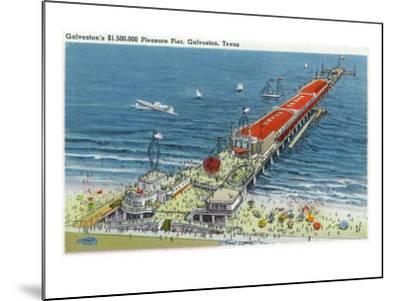 Galveston, Texas - Aerial View of Pleasure Pier and the Beach Front, c.1945-Lantern Press-Mounted Art Print