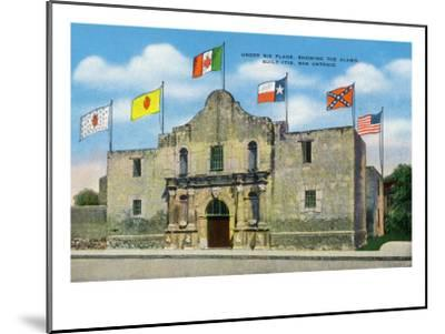 San Antonio, Texas - Exterior View of the Alamo under Six Different Flags, c.1940-Lantern Press-Mounted Art Print