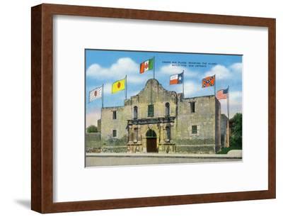 San Antonio, Texas - Exterior View of the Alamo under Six Different Flags, c.1940-Lantern Press-Framed Art Print