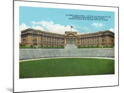 El Paso, Texas - Exterior View of the High School Facing the Stadium, c.1936-Lantern Press-Mounted Art Print