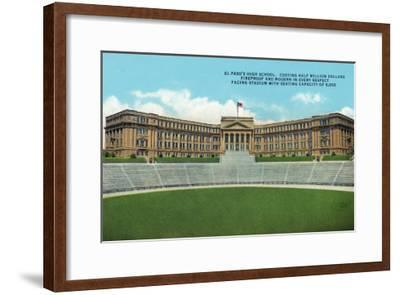 El Paso, Texas - Exterior View of the High School Facing the Stadium, c.1936-Lantern Press-Framed Art Print