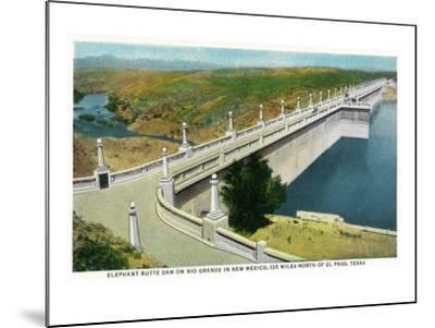 New Mexico - View of Elephant Butte Dam on the Rio Grande, 125 Miles North of El Paso, c.1936-Lantern Press-Mounted Art Print