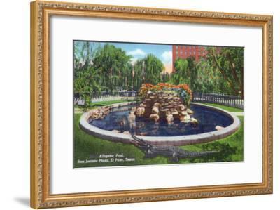 El Paso, Texas - San Jacinto Plaza, View of the Alligator Pool, c.1940-Lantern Press-Framed Art Print