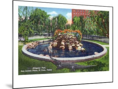 El Paso, Texas - San Jacinto Plaza, View of the Alligator Pool, c.1940-Lantern Press-Mounted Art Print