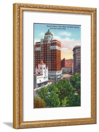 El Paso, Texas - San Jacinto Plaza, Views of Kress and Mills Buildings, Hilton Hotel, c.1940-Lantern Press-Framed Art Print