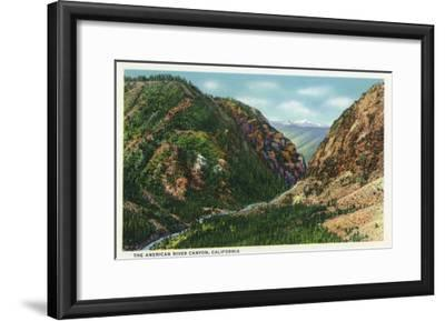 California - Scenic View in the American River Canyon, c.1937-Lantern Press-Framed Art Print