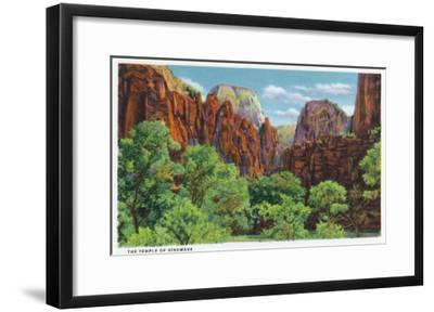 Zion National Park, Utah - View of the Temple of Sinawava, c.1938-Lantern Press-Framed Art Print