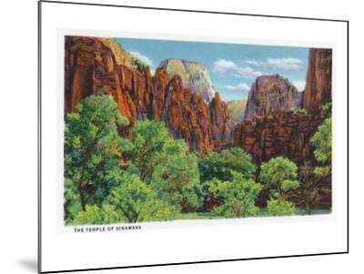 Zion National Park, Utah - View of the Temple of Sinawava, c.1938-Lantern Press-Mounted Art Print