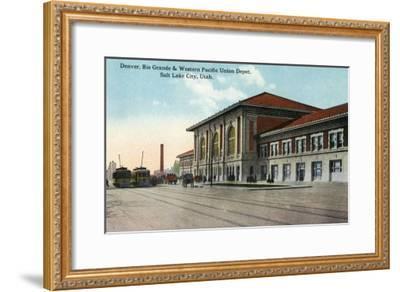 Salt Lake City, Utah - View of the Denver, Rio Grande and Western Pacific Union Depot, c.1914-Lantern Press-Framed Art Print