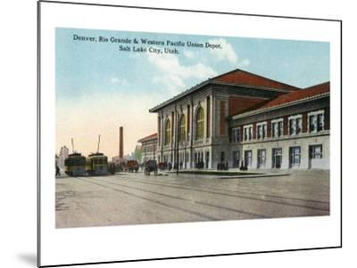 Salt Lake City, Utah - View of the Denver, Rio Grande and Western Pacific Union Depot, c.1914-Lantern Press-Mounted Art Print