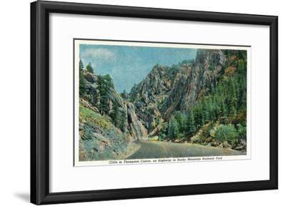 Colorado - View of Cliffs in Big Thompson Canyon on Way to Rocky Mt. National Park, c.1938-Lantern Press-Framed Art Print