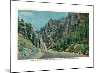 Colorado - View of Cliffs in Big Thompson Canyon on Way to Rocky Mt. National Park, c.1938-Lantern Press-Mounted Art Print