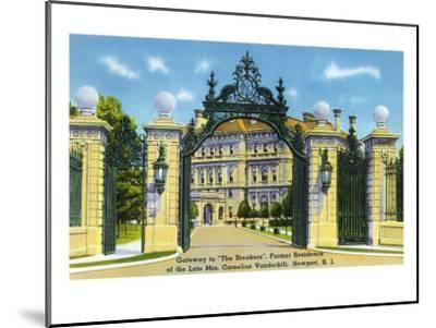 "Newport, Rhode Island - View of the Gateway to the ""Breakers,"" Vanderbilt Estate, c.1935-Lantern Press-Mounted Art Print"