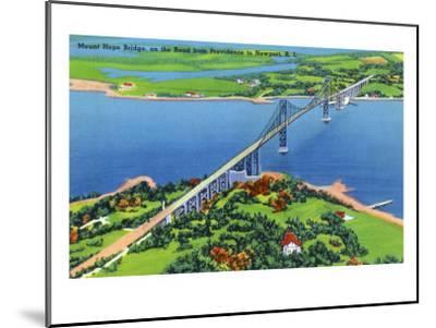 Newport, Rhode Island - Aerial View of the Mount Hope Bridge, c.1935-Lantern Press-Mounted Art Print