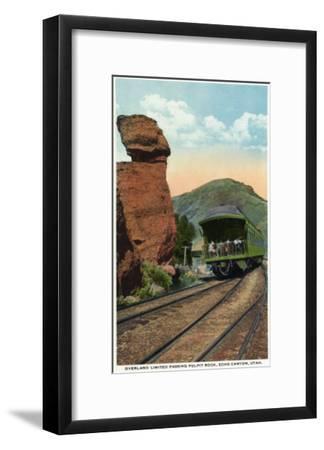 Echo Canyon, Utah - Overland Limited Train Passing Pulpit Rock, c.1917-Lantern Press-Framed Art Print