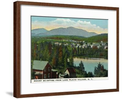 Lake Placid, New York - View of Mount Mcintyre from the Village, c.1916-Lantern Press-Framed Art Print