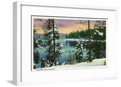 Crescent Lake, Oregon - View of the Lake During the Winter, c.1936-Lantern Press-Framed Art Print