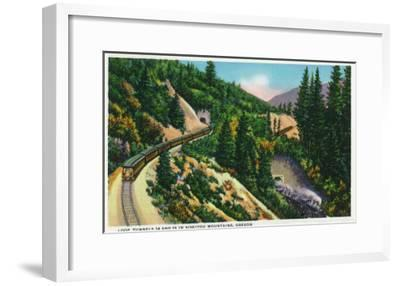 Oregon - View of No. 14 and 15 Train Tunnels in the Siskiyou Mountains, c.1936-Lantern Press-Framed Art Print