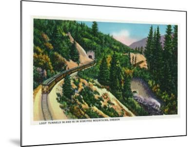 Oregon - View of No. 14 and 15 Train Tunnels in the Siskiyou Mountains, c.1936-Lantern Press-Mounted Art Print
