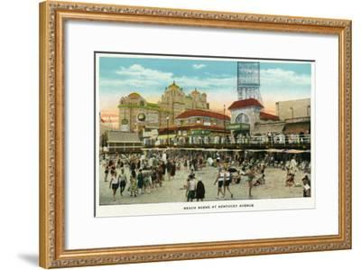 Atlantic City, New Jersey - Beach Scene at Kentucky Avenue, c.1929-Lantern Press-Framed Art Print