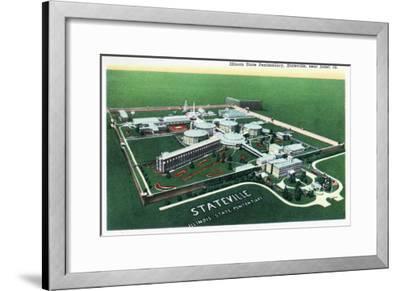 Stateville, Illinois - Aerial View of Illinois State Penitentiary Near Joliet, c.1945-Lantern Press-Framed Art Print