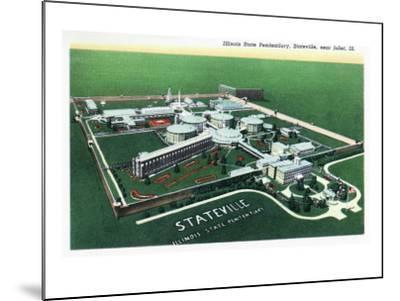 Stateville, Illinois - Aerial View of Illinois State Penitentiary Near Joliet, c.1945-Lantern Press-Mounted Art Print