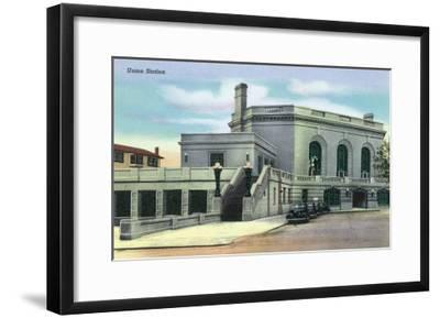 Joliet, Illinois - Exterior View of Union Station, c.1944-Lantern Press-Framed Art Print