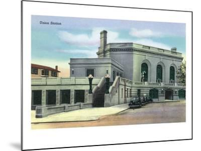 Joliet, Illinois - Exterior View of Union Station, c.1944-Lantern Press-Mounted Art Print