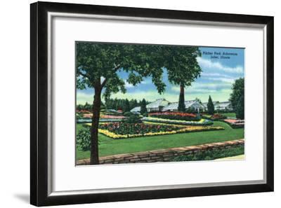 Joliet, Illinois - Scenic View of the Pilcher Park Arboretum, c.1945-Lantern Press-Framed Art Print