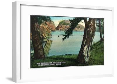 Whidbey Island, Washington - View of the Sentinels of the Pass from Puget Sound, c.1928-Lantern Press-Framed Art Print
