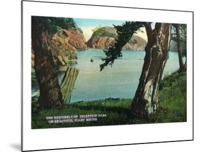 Whidbey Island, Washington - View of the Sentinels of the Pass from Puget Sound, c.1928-Lantern Press-Mounted Art Print