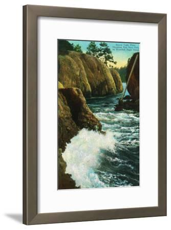 Whidbey Island, Wa - Deception Pass State Park View of Beacon Light Point on Puget Sound, c.1928-Lantern Press-Framed Art Print