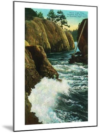 Whidbey Island, Wa - Deception Pass State Park View of Beacon Light Point on Puget Sound, c.1928-Lantern Press-Mounted Art Print