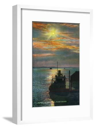 Puget Sound, Washington - View of a Sunset from a Docked Ship, c.1928-Lantern Press-Framed Art Print