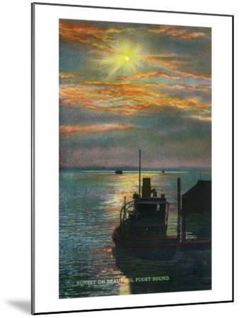 Puget Sound, Washington - View of a Sunset from a Docked Ship, c.1928-Lantern Press-Mounted Art Print