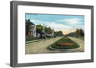 Lancaster, Pennsylvania - Scenic View Down West End Avenue, c.1918-Lantern Press-Framed Art Print