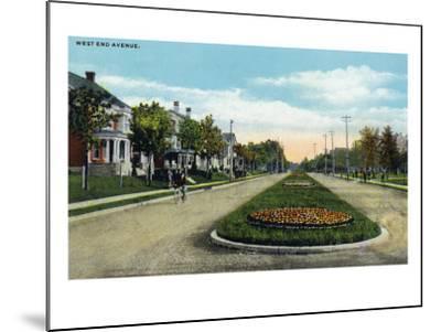 Lancaster, Pennsylvania - Scenic View Down West End Avenue, c.1918-Lantern Press-Mounted Art Print