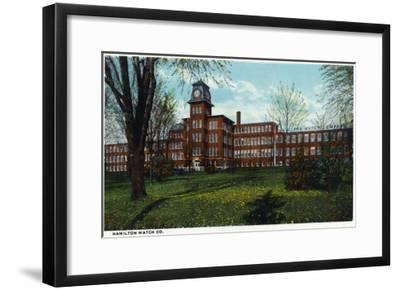 Lancaster, Pennsylvania - Exterior View of the Hamilton Watch Company, c.1918-Lantern Press-Framed Art Print