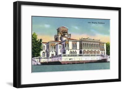 Sarasota, Florida - Exterior View of the John Ringling Mansion, c.1947-Lantern Press-Framed Art Print