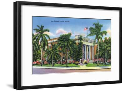 Fort Myers, Florida - Exterior View of the Lee County Court House, c.1948-Lantern Press-Framed Art Print
