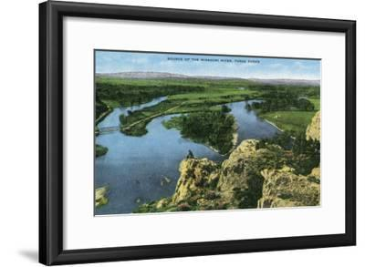 Montana - Aerial View of the Source of the Missouri River, Three Forks, c.1922-Lantern Press-Framed Art Print