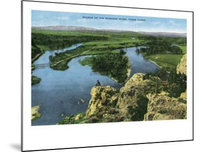 Montana - Aerial View of the Source of the Missouri River, Three Forks, c.1922-Lantern Press-Mounted Art Print