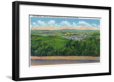 Waynesboro, Virginia - Aerial View of the Town and Shenandoah Valley from Skyline Drive, c.1956-Lantern Press-Framed Art Print