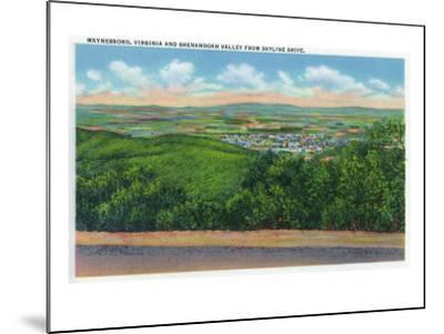 Waynesboro, Virginia - Aerial View of the Town and Shenandoah Valley from Skyline Drive, c.1956-Lantern Press-Mounted Art Print