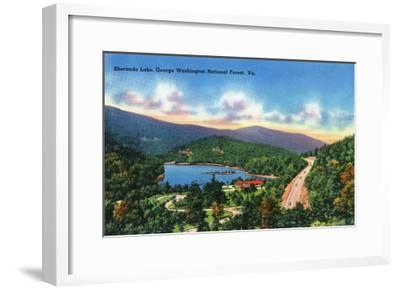 George Washington Nat'l Forest, Virginia - Aerial View of Sherando Lake, c.1956-Lantern Press-Framed Art Print