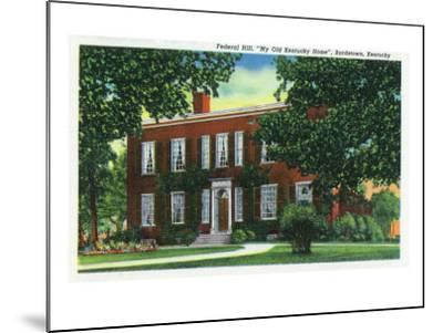 "Bardstown, Kentucky - Exterior View of ""My Old Kentucky Home"" on Federal Hill, c.1939-Lantern Press-Mounted Art Print"