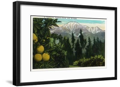 California - View of a Californian Anomaly, Snow-Capped Mountains and Orange Groves, c.1921-Lantern Press-Framed Art Print