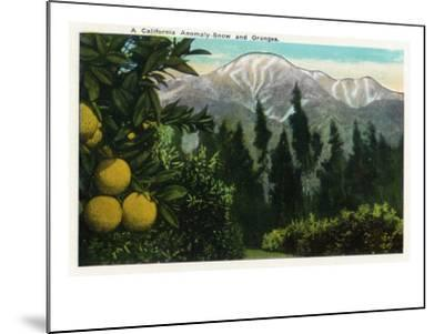 California - View of a Californian Anomaly, Snow-Capped Mountains and Orange Groves, c.1921-Lantern Press-Mounted Art Print