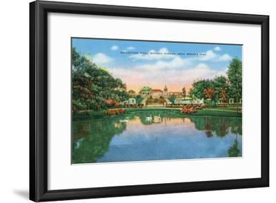 Fort Worth, Texas - Rock Springs Park View of the Reflection Pool and Botanic Garden, c.1935-Lantern Press-Framed Art Print